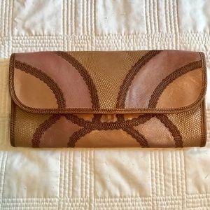 💥Carlos Falchi metallic leather snakeskin clutch.